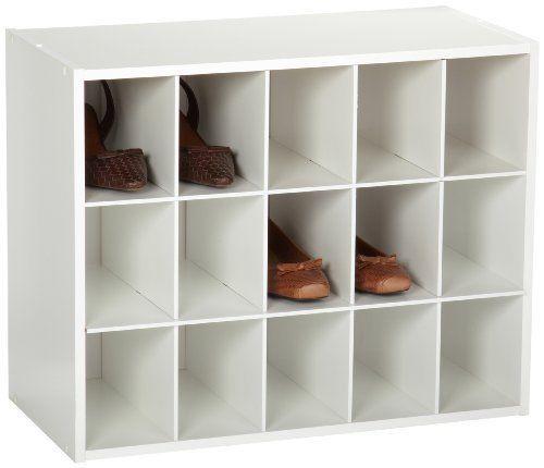 ClosetMaid White Shoe Rack Organization 8983 Stackable 15 Cube Kids Toys Storage #ClosetMaid
