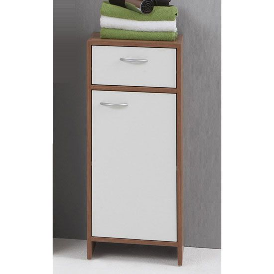 £45.00 Madrid2 Bathroom Floor Cabinet In Plumtree And White With 1 Door  #bathroomcabinet #