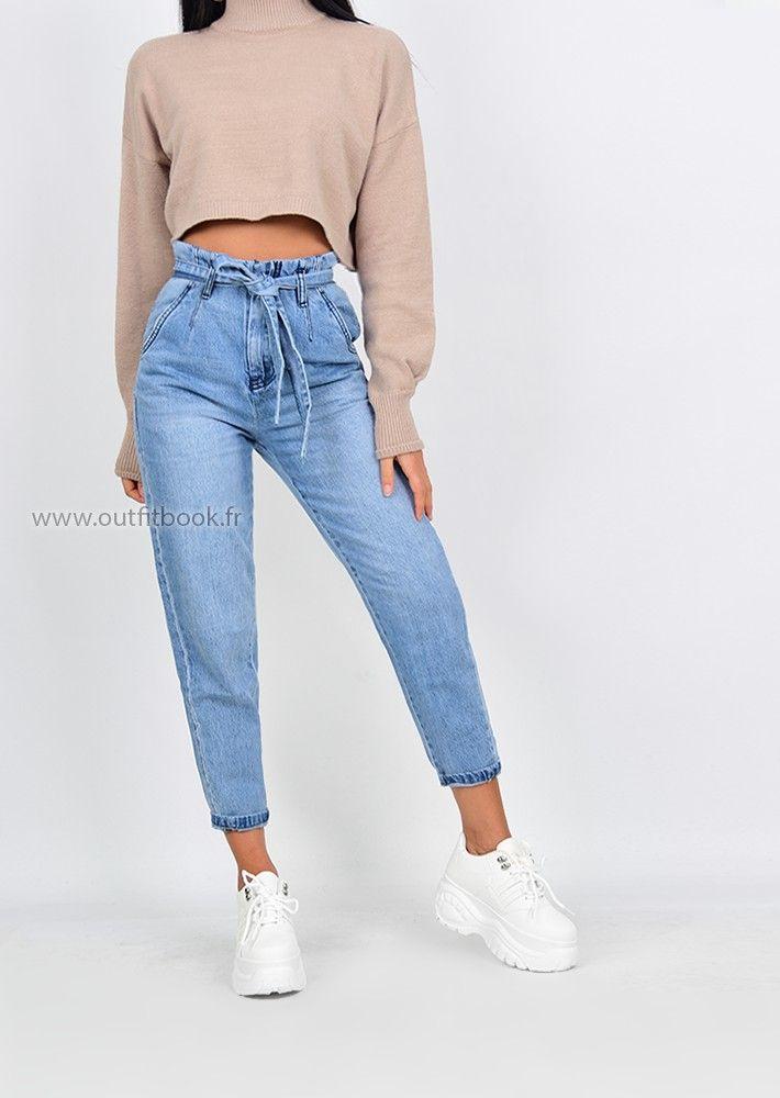 6275cac11ea754 Jean mom taille haute avec ceinture à nouer en 2019 | MODE | Jeans ...