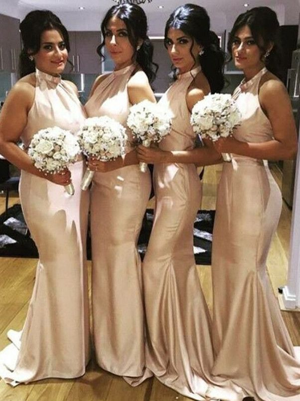 Champagne Mermaid Bridesmaid Dress, Bridesmaid Dresses,Satin Bridesmaid Dress,Sweep Train Prom Dress with Ruched,champagne Prom Dress