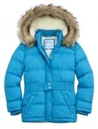 Belted Puffer Coat with Faux Fur Hood