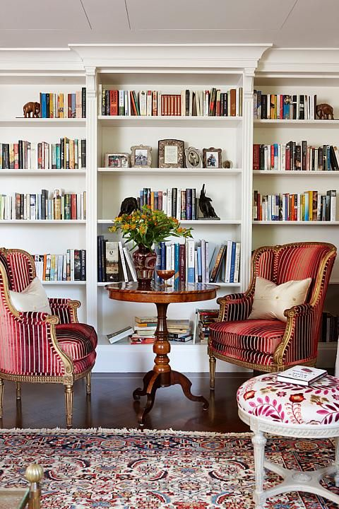 Design Sarah Richardson / Photo Stacey Brandford / #livingroom #red #bookcase