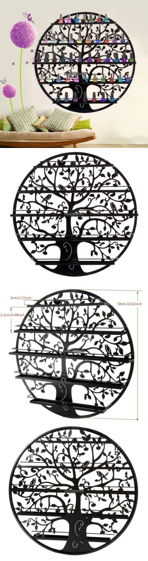 Nail Practice and Display: New Tree Silhouette Nail Polish Organizer Cosmetic Metal Wall Mount Rack Shelf BUY IT NOW ONLY: $35.19