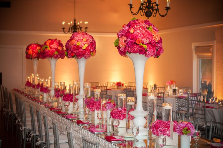 Pink and orange flowers tall vases tall centerpieces for Orange centerpieces for tables