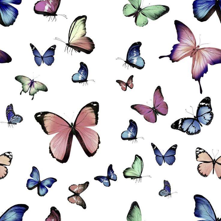 Jersey, digital print med sommerfugle rosa/grøn/blå