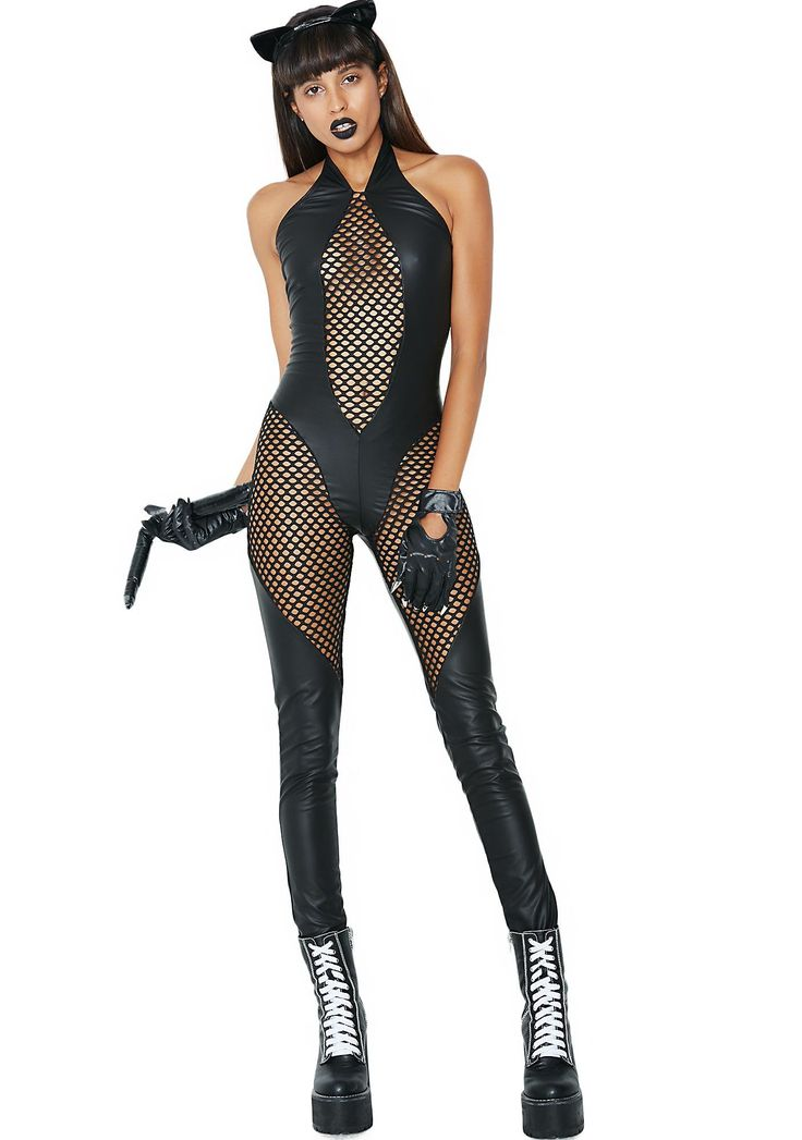 Cat Scratch Fever Costume is so hot you're makin' 'em sweat. Sharpen your claws in this sexxxy jumpsuit that has a leather look body, front cut-out mesh panel, a halter neckline, and mesh legs. Complete your look with some kitty ears N' gloves and you're ready to pounce!