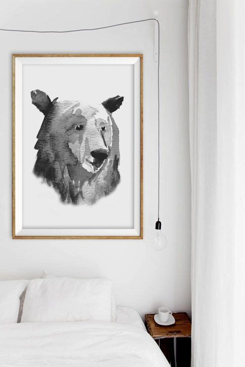 Watercolor Bear Home Decor Art Print - Woodland Forest Wall Decor - Black & White Minimalist Art Print - Bohemian Bear Art