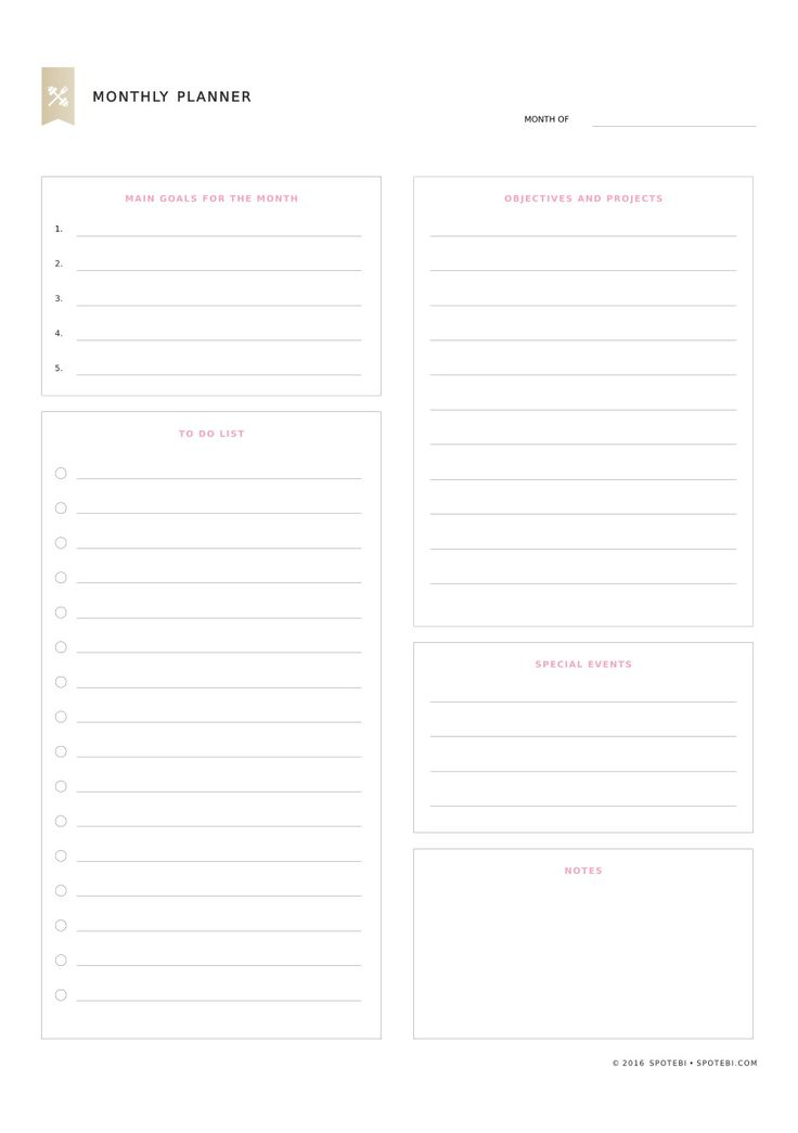 The 25+ best Monthly planner template ideas on Pinterest Budget - daily planner word template