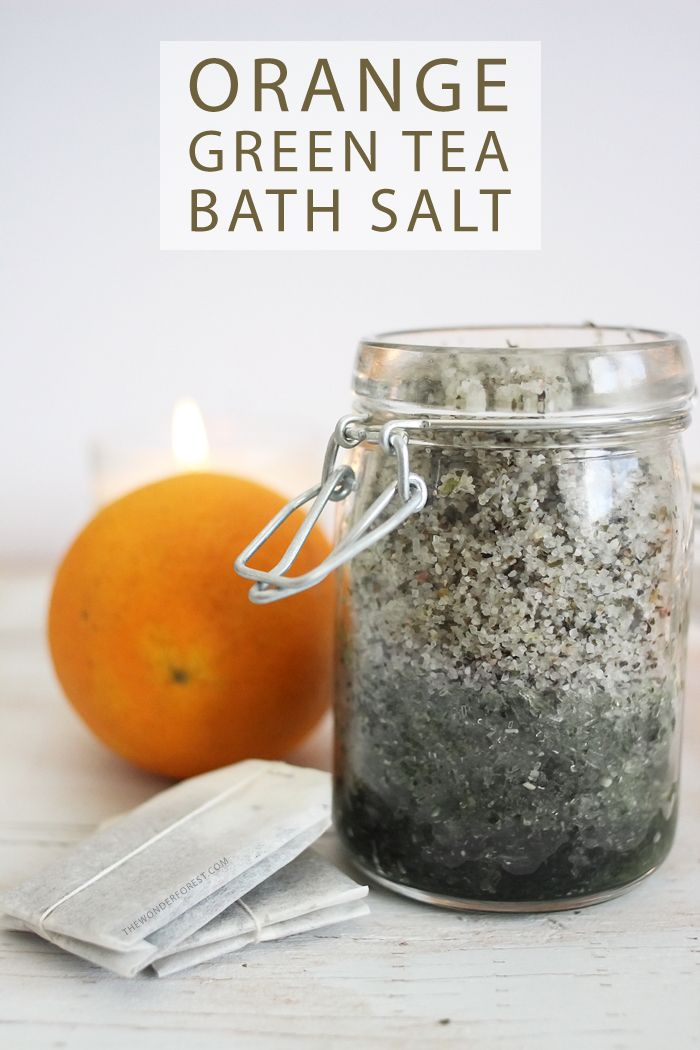 Tons of skin benefits in this Refreshing Orange Green Tea Bath Salt Recipe