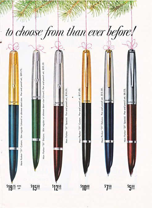 New Parker Pens and Pencils, this is a good source for vintage illustrations, ads, and paper ephemera.  #vintage ad
