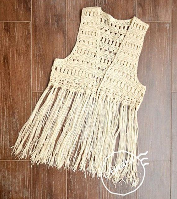 FREE SHIPPING Crochet Fringed Vest, Lace Tank Top, Boho ...