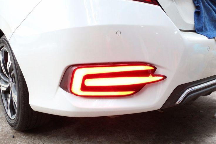eOsuns led rear bumper light for Honda Civic 10th 2016, driving lamp   brake light, 2 functions warning light, wireless switch