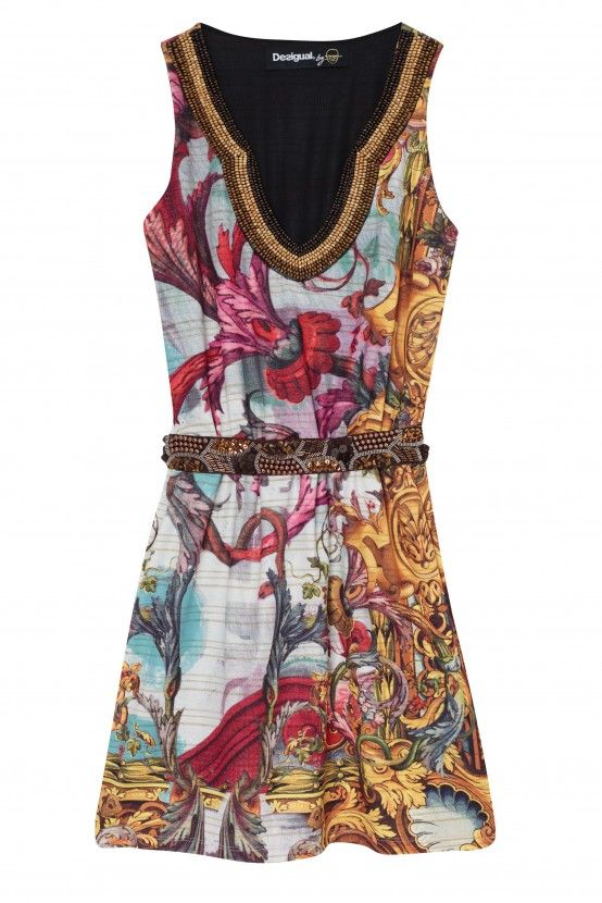 Desigual women's Well dress from the Desigual by L line. Another marvellous creation by Mr. L for Desigual. The dress exudes elegance from every angle.