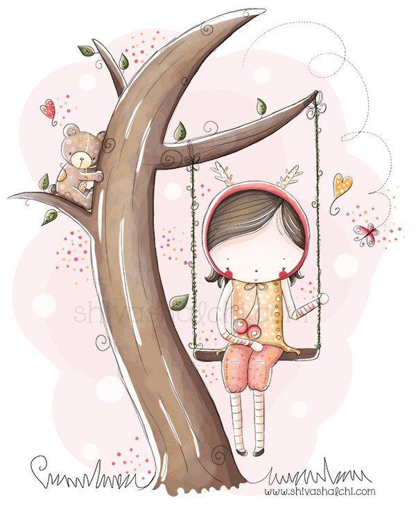 Illustrazione di bambini - altalena ragazza di ShivaIllustrations su Etsy https://www.etsy.com/it/listing/152394184/illustrazione-di-bambini-altalena