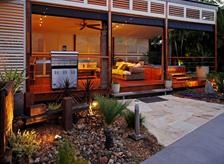 Outdoor Kitchen with Aluminum Shutters = Living outdoors.