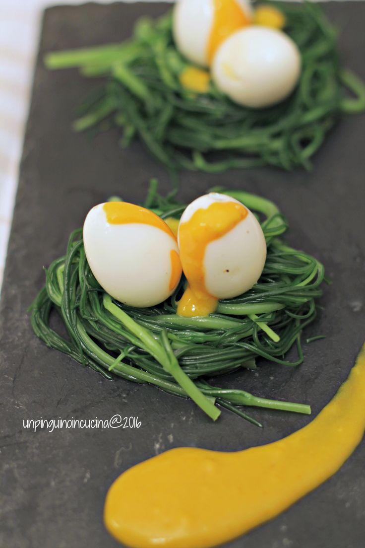 Nidi di agretti con uova di quaglia e maionese all'acqua