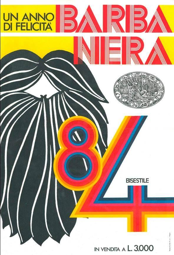 È il 1984. Una folta barba (nera ovviamente!) campeggia sulla locandina dell'Almanacco... Un'altra pietra miliare tra le immagini più belle di Barbanera! #flyer #almanacco