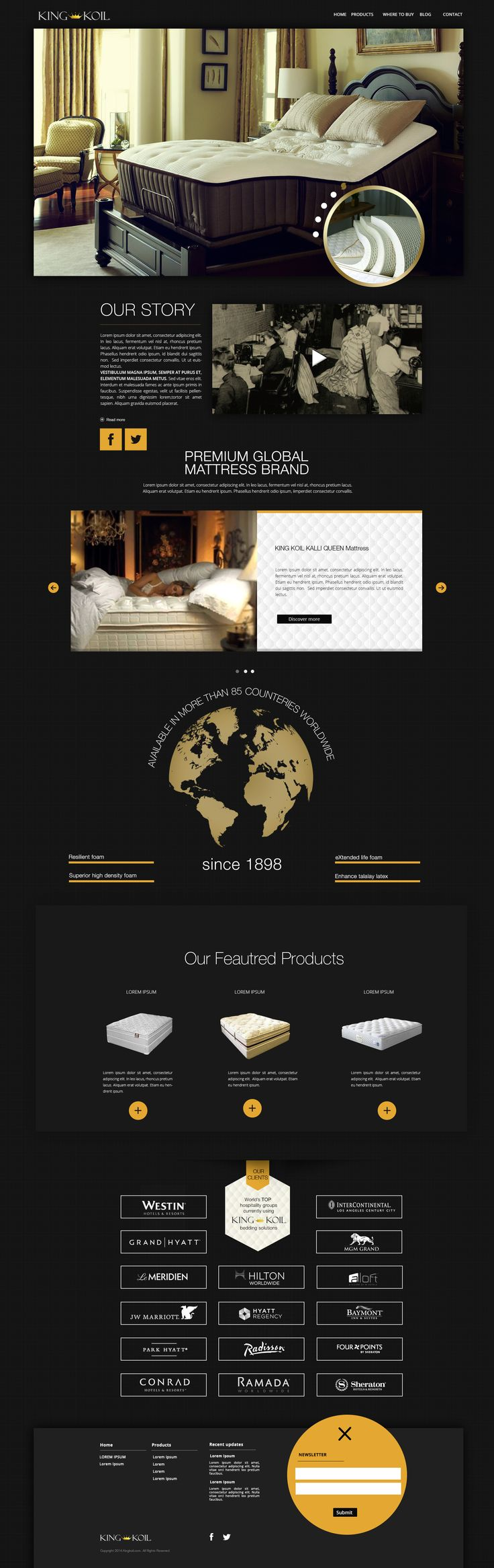 | king koil | luxury mattresses homepage layout #madproduction --- if U like it, contact us at madproduction.it ---