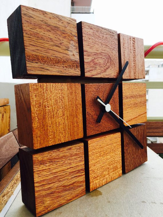 Wooden clock handmade Handmade wood by IRWoodStuff on Etsy