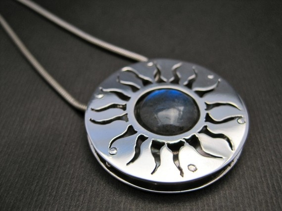 Eclipse Necklace - Sterling Silver and Labradorite Reversible Sun and Moon Pendant
