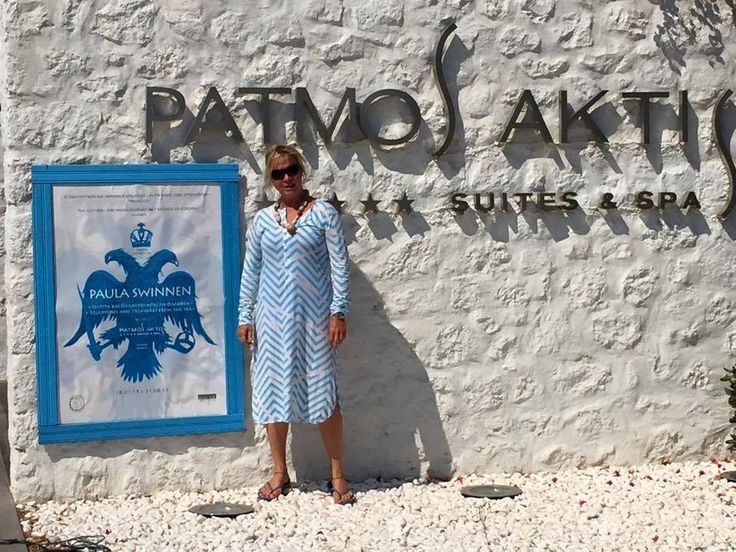 Paula Swinnen posing for the exhibition! #patmosaktis #patmos Photo by Patmos of colors / Η Πάτμοσ των χρωμάτων