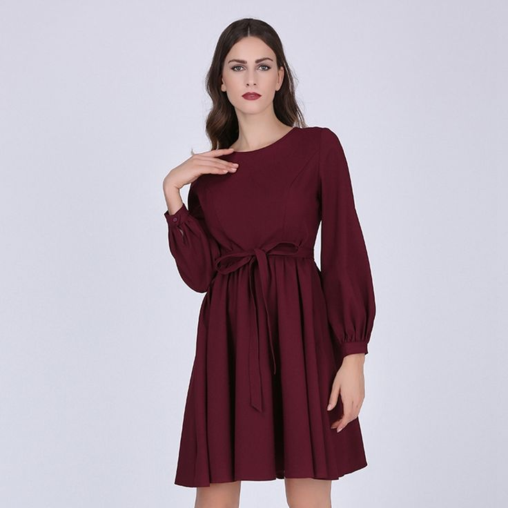 Sisjuly women casual 2017 spring dress burgundy office long sleeves a-line red women dresses autumn luxury sashes casual dress