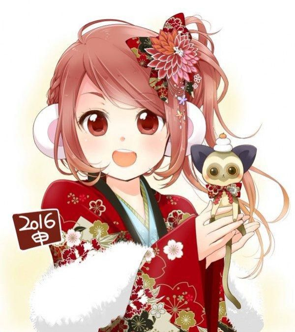 #Dessin #Illustration #NouvelAn singe fille #Kimono par m_manishi