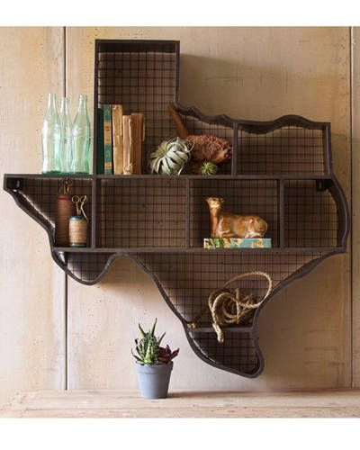 Loving this Texas-shaped shelf display