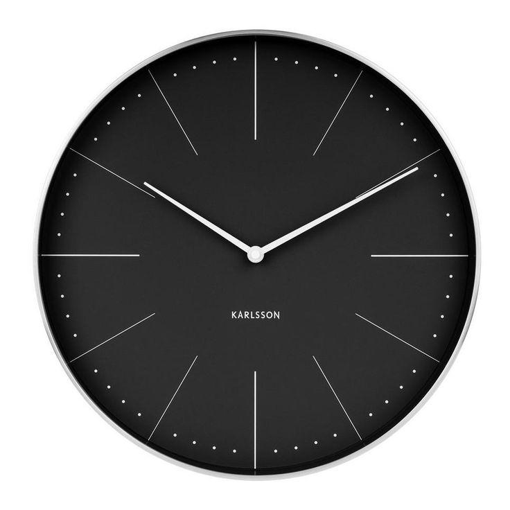 Zilveren zijkant Karlsson Klokken klok Normann (Ø37.5 cm) , Zwart
