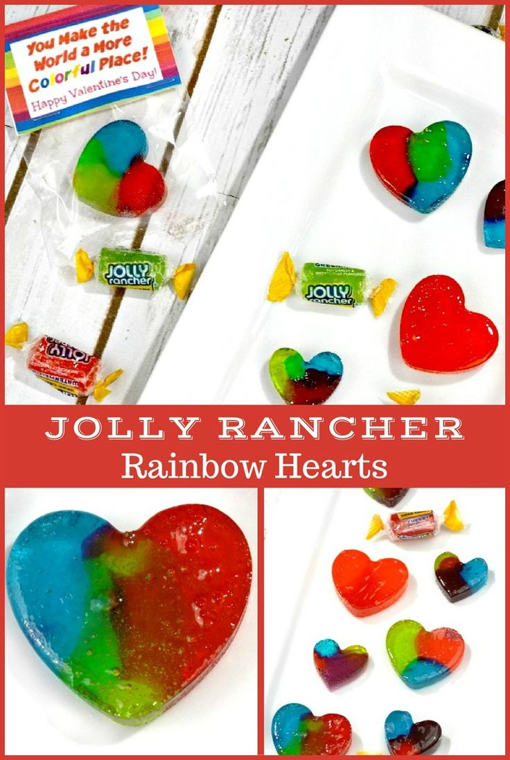 Homemade Jolly Rancher Rainbow Hearts candy