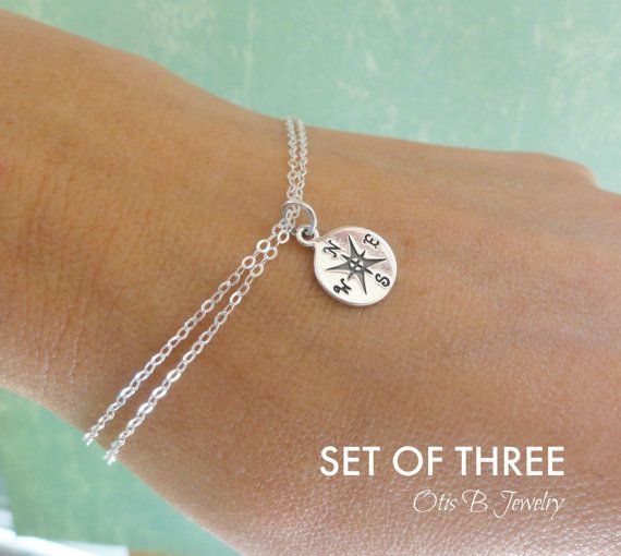 Friendship bracelets, THREE Compass bracelets, Compass charm bracelet, best friend gifts, bridesmaid gifts, bridesmaid thank you