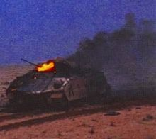 Bradley IFV burns after being hit by Iraqi T-72 tank fire during the Battle of 73 Easting.