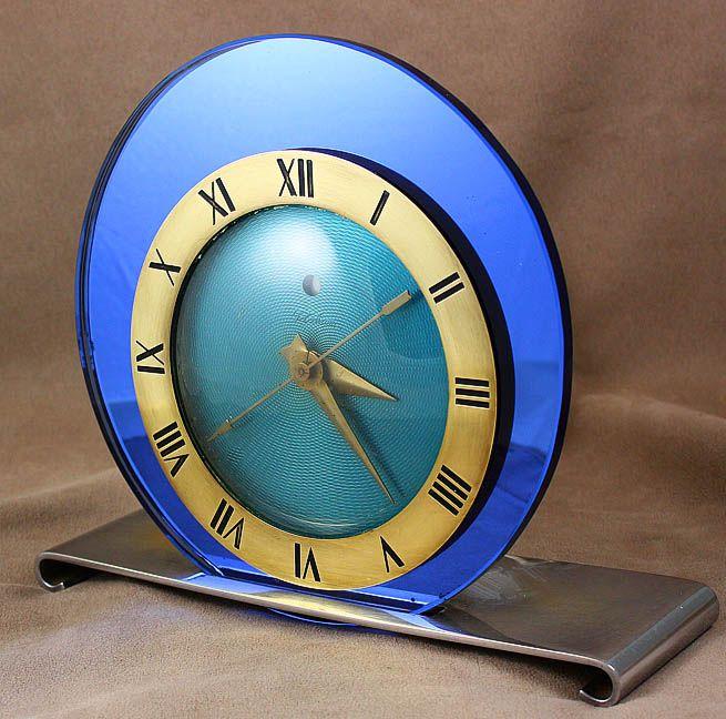 Art Deco machine age cobalt blue glass Telechron clock.