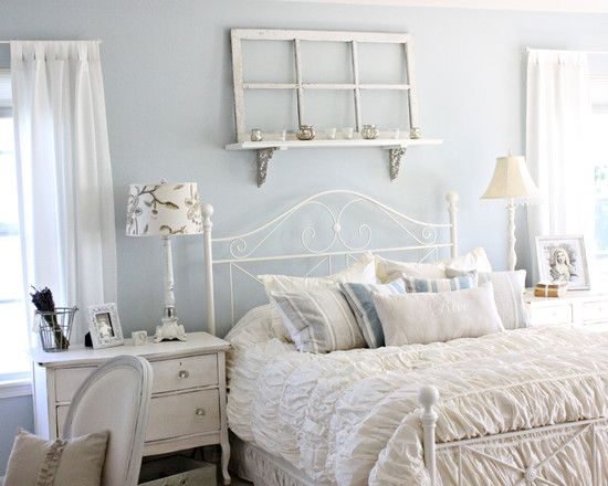 shabby chic bedroom light blue walls future home pinterest shabby shabby chic and bed. Black Bedroom Furniture Sets. Home Design Ideas
