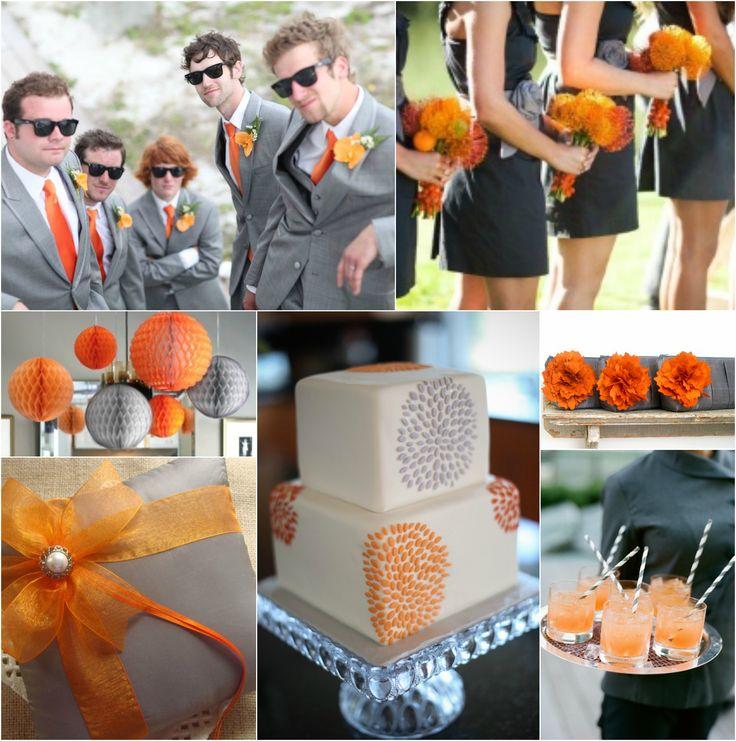 Orange & Grey Wedding                                                       …