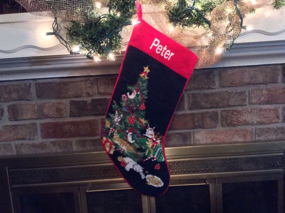 Cat Personalized Needlepoint Christmas Stocking by BABarkerGifts