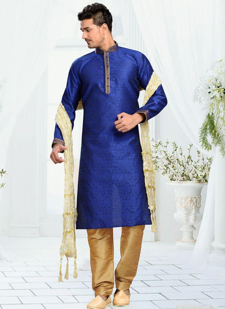 Blue Art Silk Embroidered Work Wedding Wear Churidar Kurta Pajama