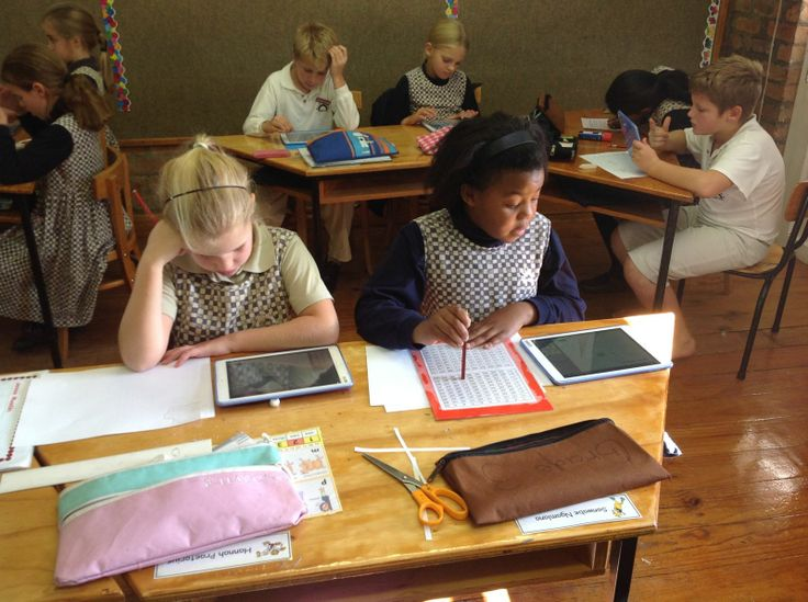 """Marrying' the learning tools in the classroom: Grade 3 pupils are working hard on iPads, doing """"Mental Maths"""". Changing the way and effectiveness with which our pupils learn."""