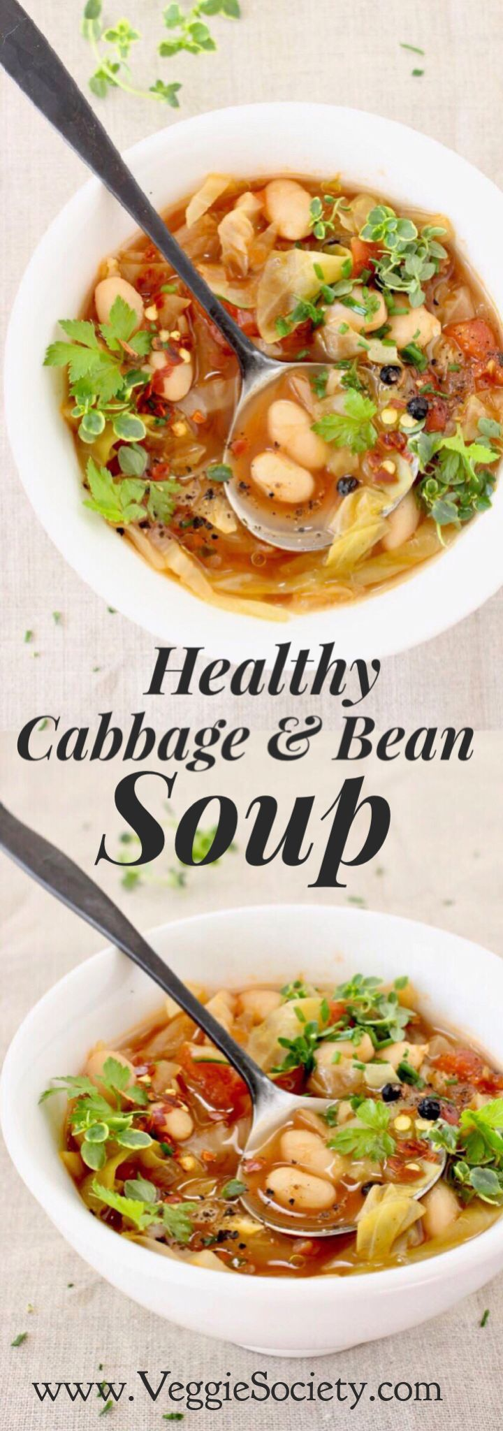 Healthy Cabbage and White Bean Soup Recipe with Italian flair from cannellini Beans, tomatoes and herbs. Vegan • Gluten-free • Detoxifying • Rich In Fiber & Protein | VeggieSociety.com @VeggieSociety http://eatdojo.com/healthy-soup-recipes-for-weight-loss-easy-yummy/