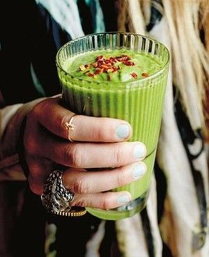 Three ways to drink your greens: try this savoury greens smoothie by Lola Berry.