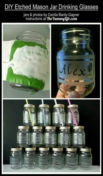 DIY etched glassware / etching Mason jars