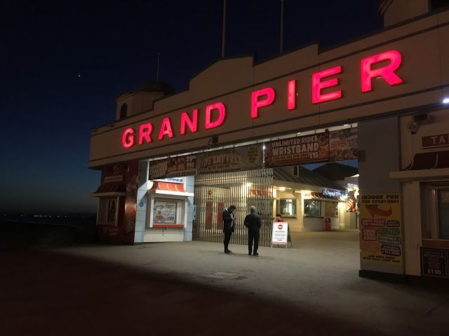 The Grand Pier at night, Weston Super Mare in Bristol