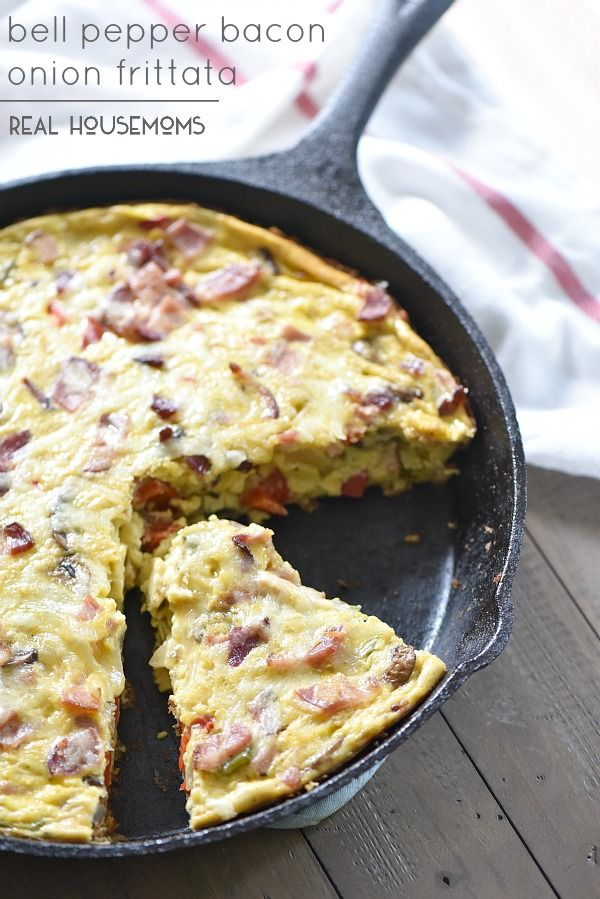 Bell Pepper Bacon Onion Frittata is so easy and tasty!!! It's a great ...