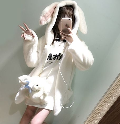"Cute kawaii bunny ears fleece jacket $35 PLUS get 10% discount quote ""Char"" at the checkout"