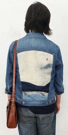 Detail | Red bird sky | Denim jacket | Reverse | Painting | Picture panel back | indigo blue
