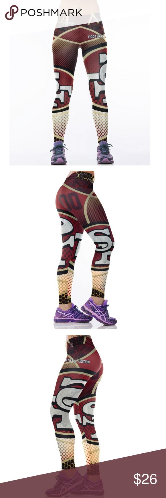 San Francisco 49ers NFL Leggings Root for your favorite team in these high quality NFL leggings! Perfect wardrobe addition while watching Sunday football games. The vivid colors and designs are sure to turn heads! Get a pair now while they last to show your team support every week as they inch their way to the glorious Super Bowl Condition: Brand New in Packaging Material: Spandex / Polyester Measurements:  (Length / Waist / Hip) S/M: 36 / 27.5-37 / 33-41.5 L/XL: 36.5 / 30–39.5 / 35.5-44…