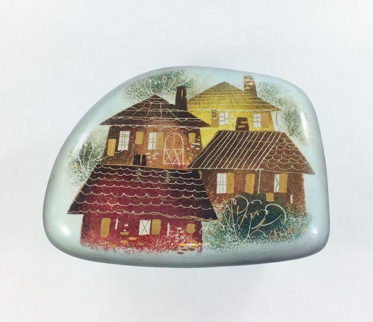 Sascha Brastoff Lidded Round Ceramic Trinket Box in the Roof Tops pattern #SaschaBrastoff