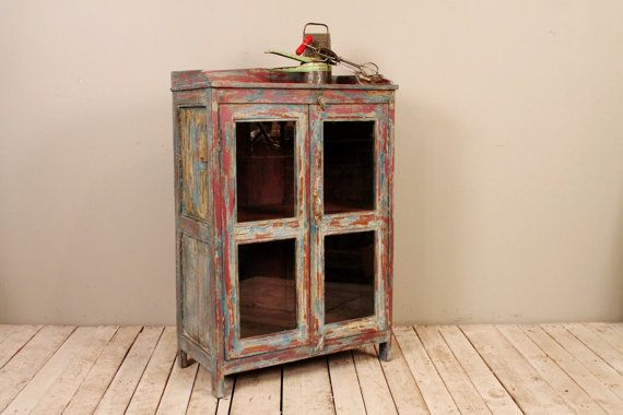 Antique Indian Rustic Colorful Red Blue Yellow Bathroom Kitchen Storage Curio Glass Cabinet on Etsy, $599.00