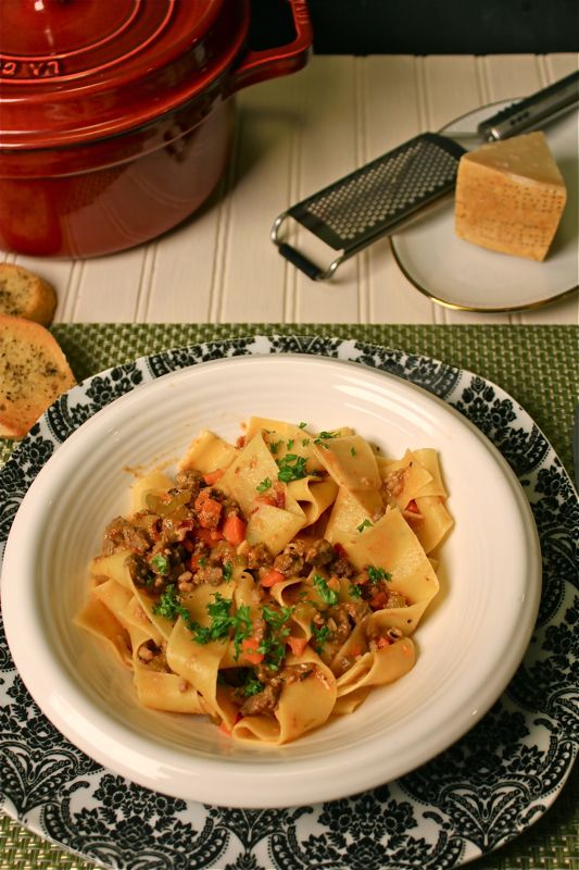 Alice Waters' Bolognese Sauce with Pappardelle Pasta  My other favorite pasta style - pappardelle