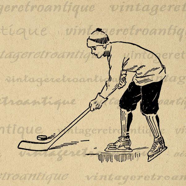 Printable Young Hockey Player Image Graphic Digital Download Artwork Vintage Clip Art Jpg Png Eps Print 300dpi No.4190 @ vintageretroantique.com #DigitalArt #Printable #Art #VintageRetroAntique #Digital #Clipart #Download #Vintage #Antique #Image #Illustration